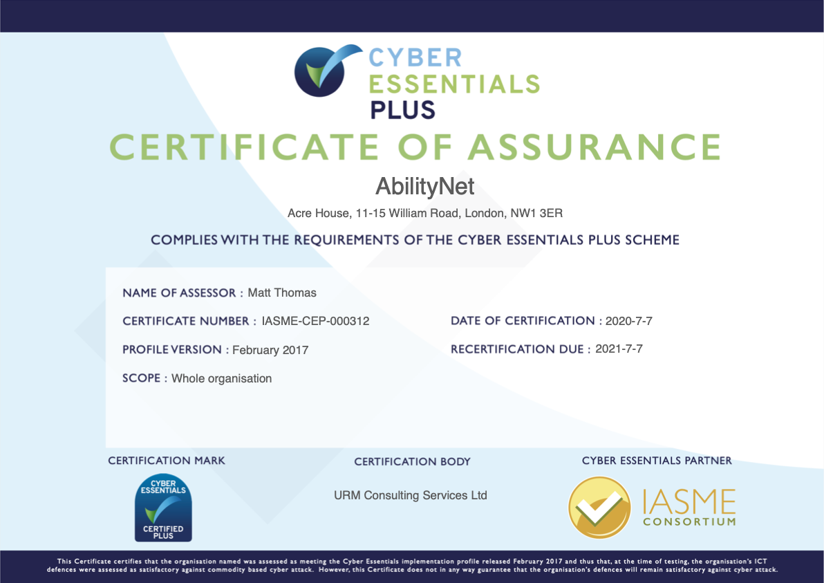 Image of AbilityNet's Cyber Essentials Plus Certificate of Assurance