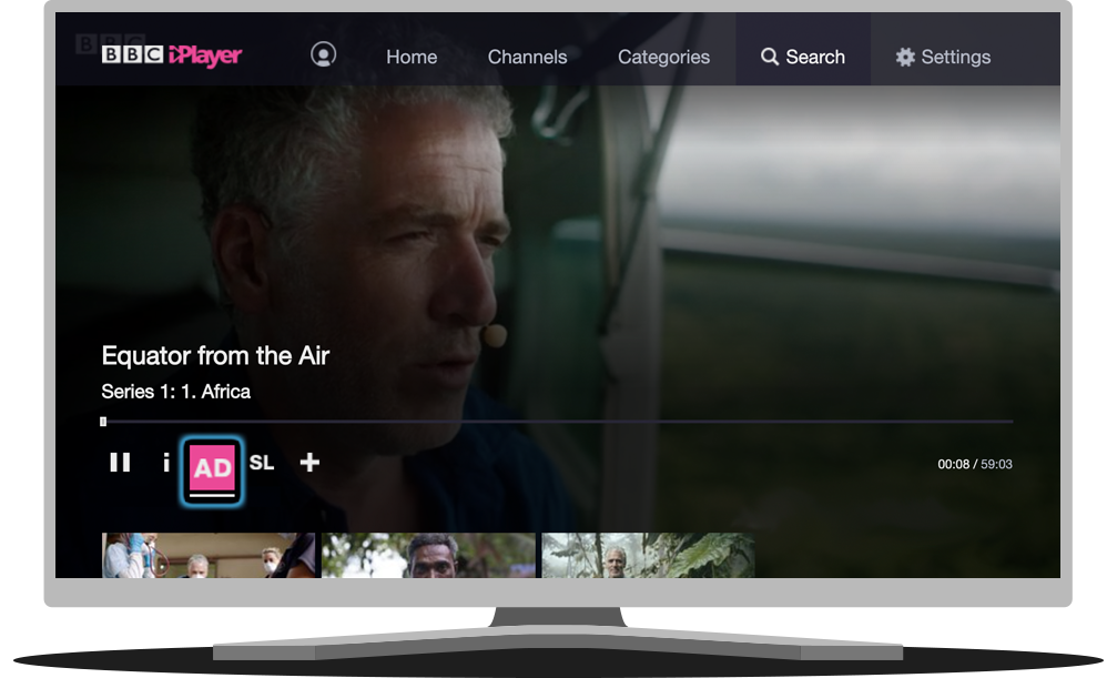Colour photo of BBC iplayer screen highlighting the AD button