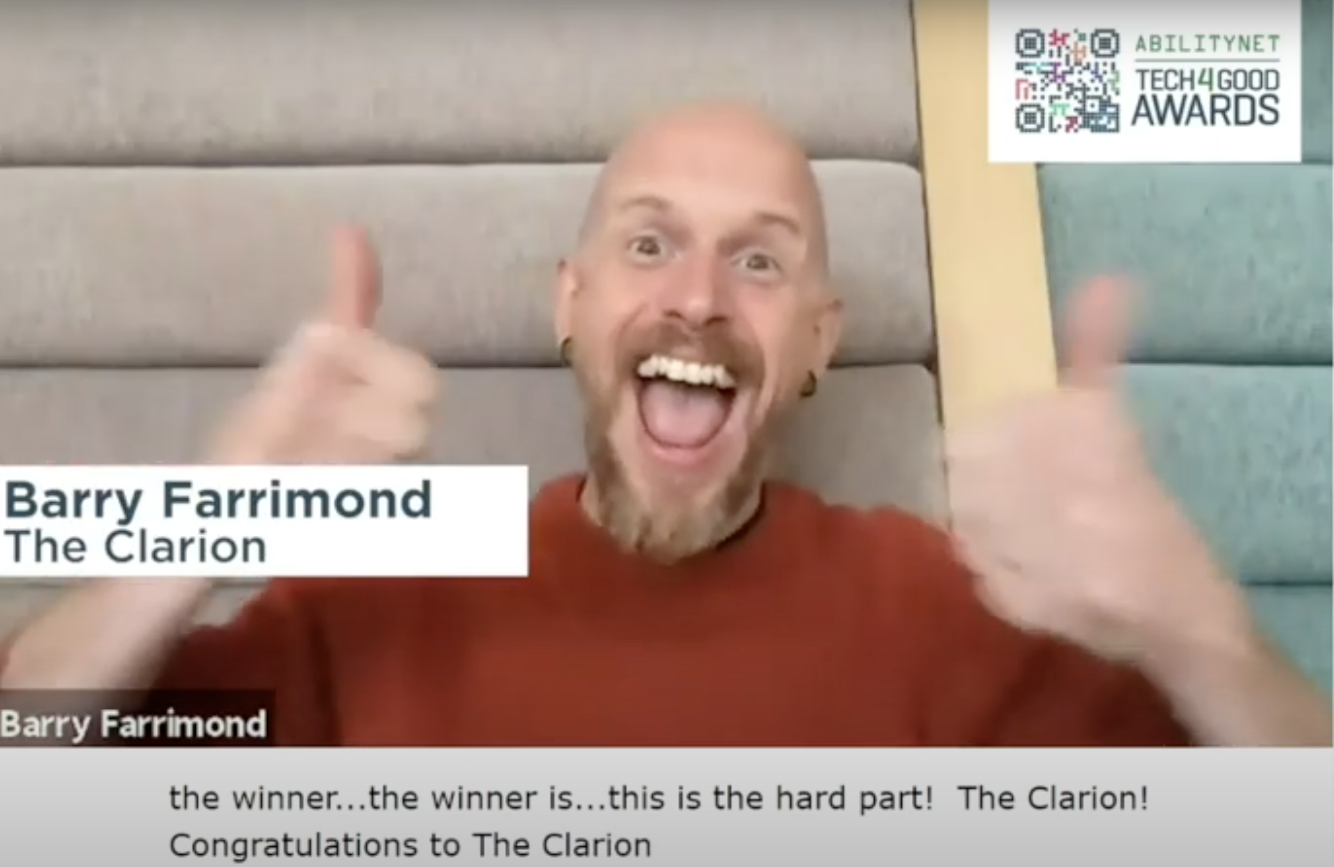 Image of Barry Farrimond of The Clarion smiling, reacting to winning the Tech4Good Accessibility Award