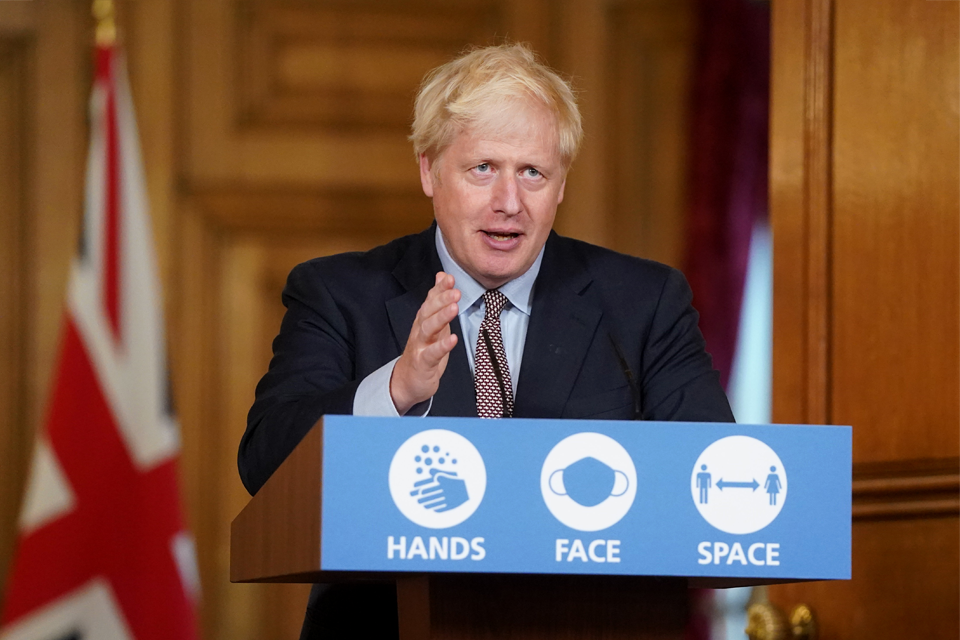 Image of Boris Johnson speaking at lectern saying 'Hands, Face, Space'